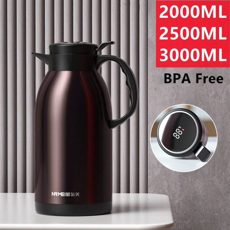 2000/3000ML Large Capacity Stainless Steel Thermos Carafe Home Coffee kettle Kitchen Tea Pot Pitcher