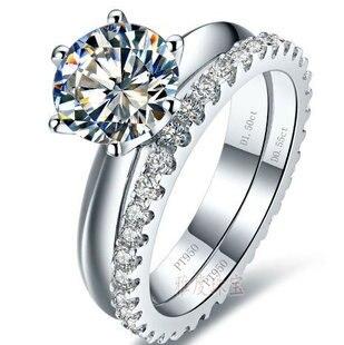 Color oro blanco 0,6-3 quilates sona simulada gema anillo de boda conjuntos para mujeres, juego de anillos de plata 925, juego de anillos de compromiso