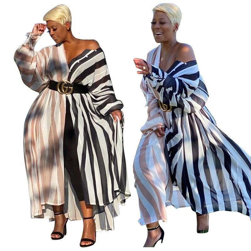 فستان قميص مخطط بأكمام طويلة ، مقاس كبير ، فضفاض ، غير رسمي ، ملابس الشارع ، بالجملة ، توصيل مباشر