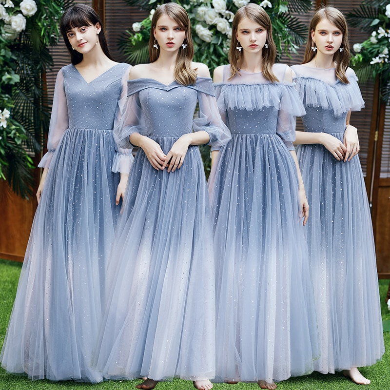 Bridesmaids Dresses Illusion O-Neck Half Floor-Length Tulle Lace Off The Shoulder A-Line Luxury Women Wedding Party Gown E722
