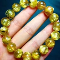 11 5mm natural gold flower rutilated quartz clear round beads bracelet women men fashion wealthy stone certificate aaaaa