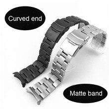 Extrémité incurvée solide 22mm 20mm Bracelet de montre en acier inoxydable argent noir mat Bracelet en métal Bracelet femmes hommes bracelets de montre avec des épingles
