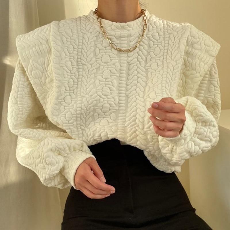 Korean winter sweater with loose round sleeves long sleeve crop top  women shirts blouses  Streetwear  Regular  O-Neck pink plain round neck long sleeves tassel hem t shirts