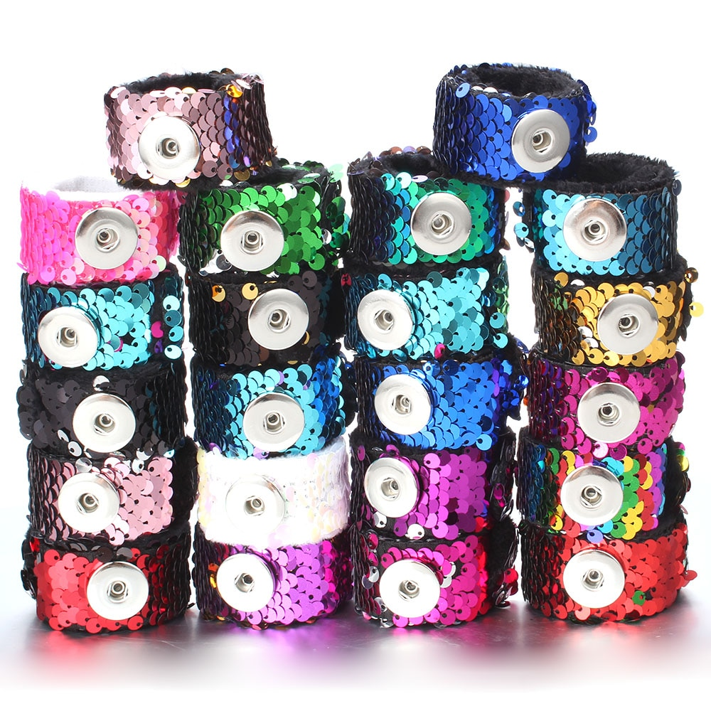 Gran oferta, pulsera con botón a presión de lentejuelas, brazalete de 18MM para mujer, botón de regalo divertido para niños, joyería