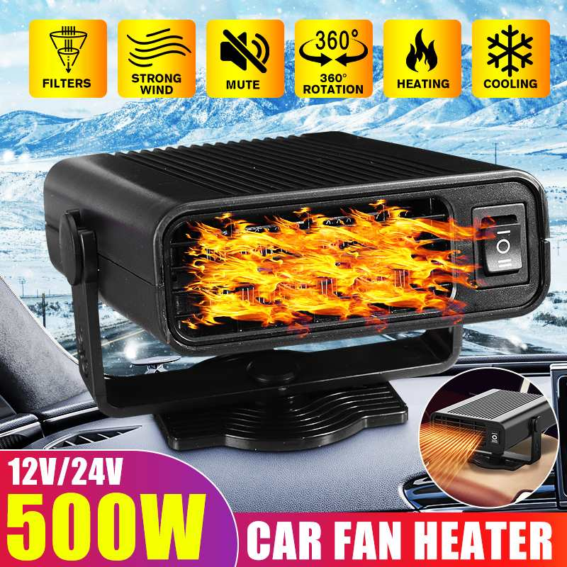 500W Portable Auto Car Heater Heating Defroster Electric Fan Heater Heating Windshield Defroster Demister 360° Rotaing 12V 24V