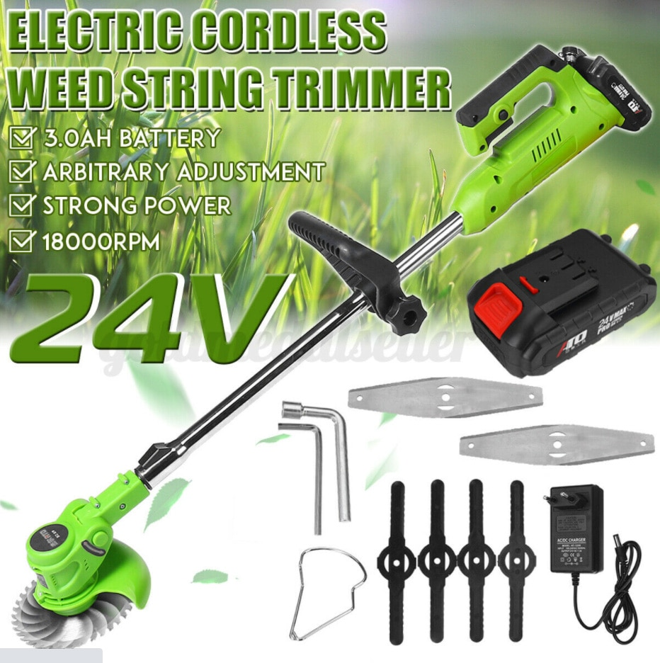 24v Portable Electric Lawn Mower Household Handheld Lawn Mower Cordless Weeder Farm Garden Pruning Power Tool With 1 Battery