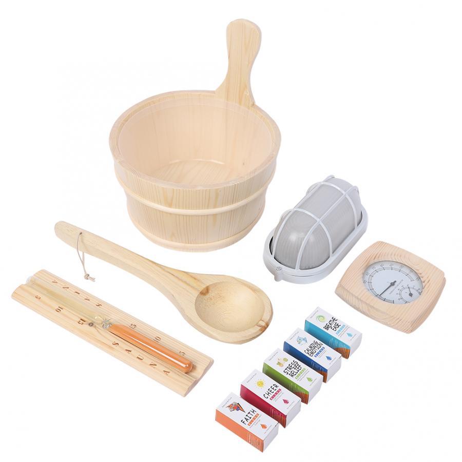 Acessórios do banheiro kits sauna sala colher barril de madeira à prova de explosão lâmpada hourglass higrothermograph óleo essencial conjunto