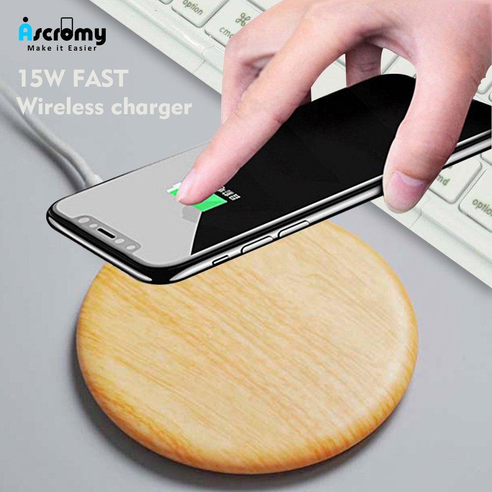 Base de carga de madera rápida Ascromy Qi cargador inalámbrico para iPhone Xs Max XR XS X 8 Plus 15W almohadilla para Samsung S10 S9 S8 S7 Nota 9