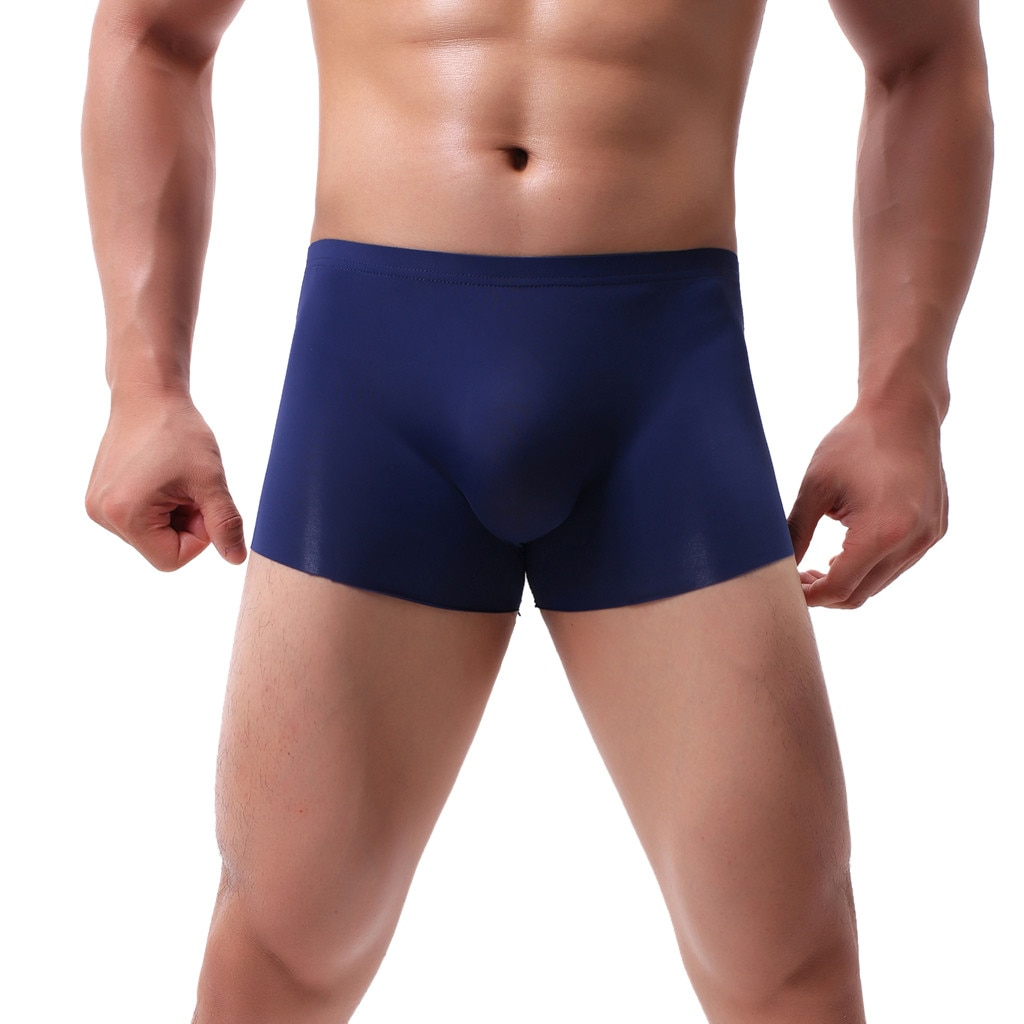 Мужское сексуальное нижнее белье, однотонные дышащие удобные бесшовные боксеры из ледяного шелка, трусы, боксеры, нижнее белье 50 *
