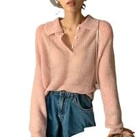 beautana polo pullover sweater 2021 summer solid turn down collar mesh hollow out transparent women loose knit crochet top korea