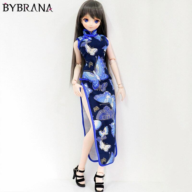 Bybrana bjd 1/3 1/4 boneca retro cheongsam boneca roupas