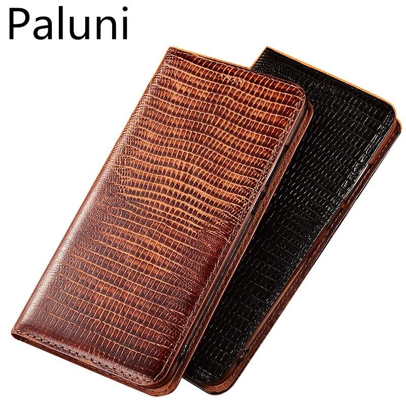 High-end padrão lagarto natural suporte slot para cartão de estojo de couro para Xiao mi mi MAX 3/Xiao mi mi MAX 2 magnetic phone case capa funda