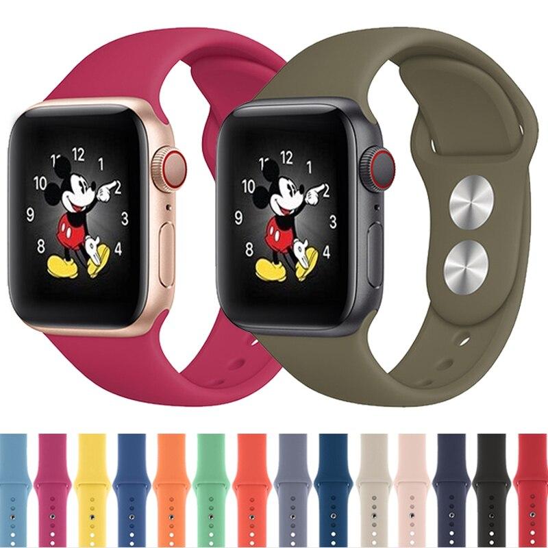 Correa de reloj Apple apple watch banda 5 44mm 40mm correa de reloj apple watch 5 4 3 2 1 brazalete de silicona deportivo Cinturón correa iwatch banda 42mm 38mm