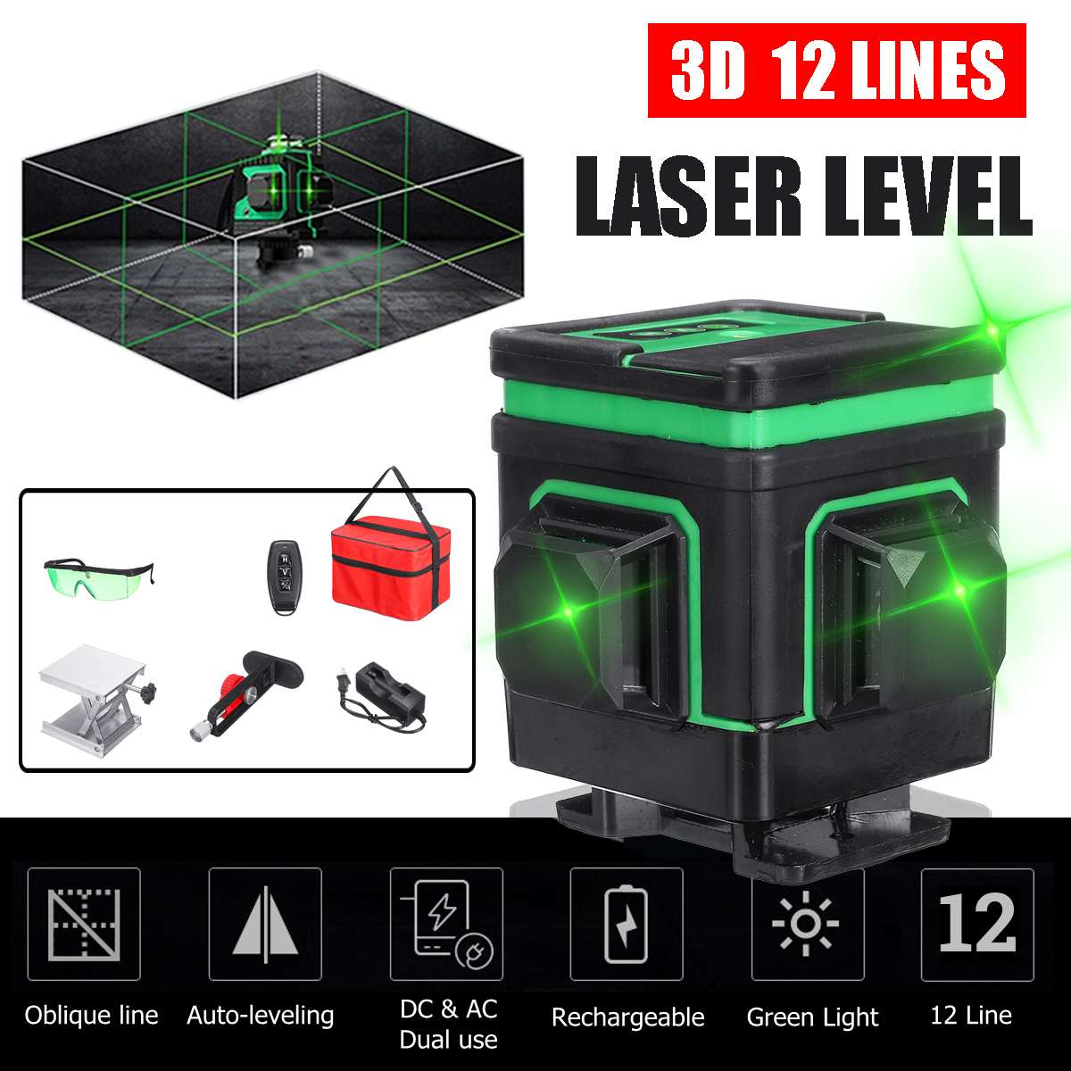 3D láser Nivel 12 líneas 360 rotativo Nivel láser trípode para Nivel Lazer receptor soporte herramientas de construcción