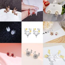 1Pairs Christmas Ornaments Elk Deer Earrings For Women Creative Fashion Crystal Stud Earrings Girls