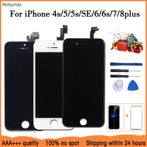 AAA+++LCD Display For iPhone 6 7 8 6S Plus Touch Screen Replacement For iPhone 5 5C 5S SE No Dead Pixel+Tempered Glass+Tools+TPU