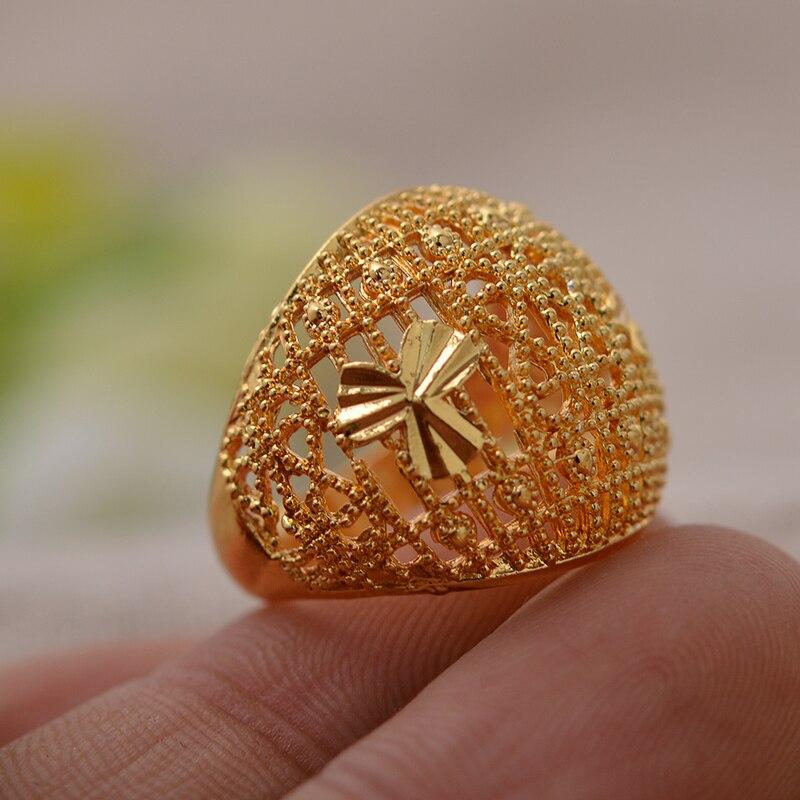 Moda Dubai oro Color 7-9 tamaño anillo para mujeres/niñas Medio Oriente/etíope/Africano boda fiesta joyería regalos