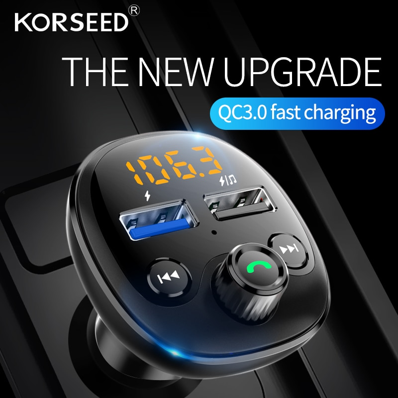 Korseed Car MP3 Player Bluetooth 5.0 Receiver FM Transmitter QC3.0 Dual USB Car Charger TF Card Interior Accessories Auto Parts