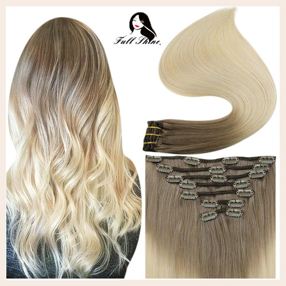 مشبك تألق كامل في شعر مستعار بشري أومبير اللون 7 قطعة 120g 100% وصلات الشعر البشرية على ريمي البرازيلي الحقيقي لحمة مزدوجة