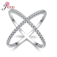 925 sterling silver cubic zirconia rings new x shape cross round fashion women personality finger accessories jewelry bague