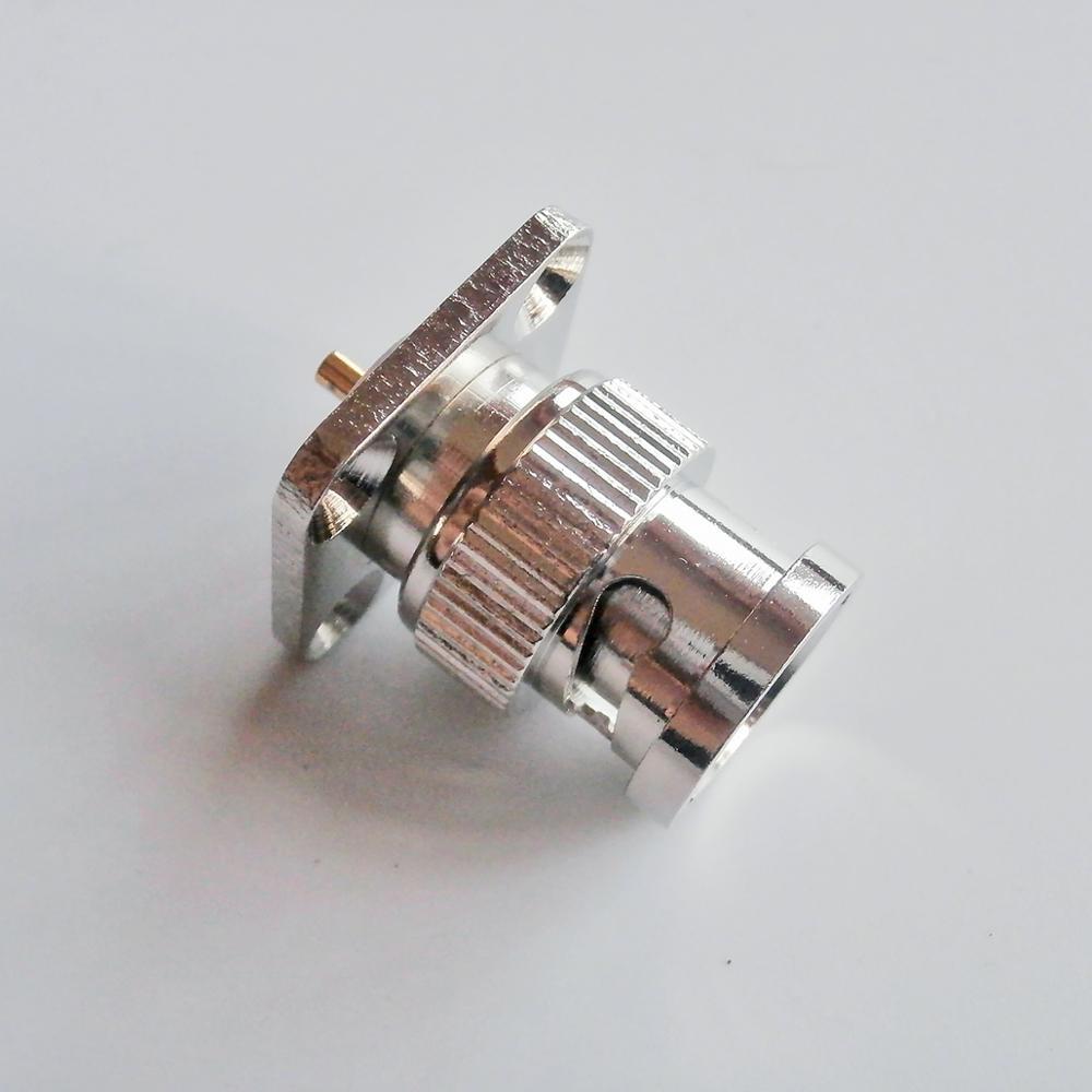 Conector RF BNC Q9, enchufe macho BNC, Panel de reborde de 4 orificios, copa de soldadura de montaje, adaptadores coaxiales de latón niquelado RF de 17,5x17,5mm