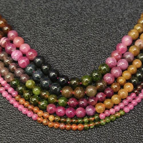 "Natural genuino rosa amarillo verde púrpura multicolor Brasil turmalina perlas redondas 5,7mm 15"""