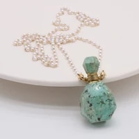 green turquoise natural semi preciou stone perfume bottle pendant necklace couple party wearing gift freshwater pearl chain 80cm