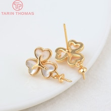 2PCS 12x18MM 24K Gold Color Brass Flower with Half Pin Stud Earrings High Quality DIY Jewelry Making