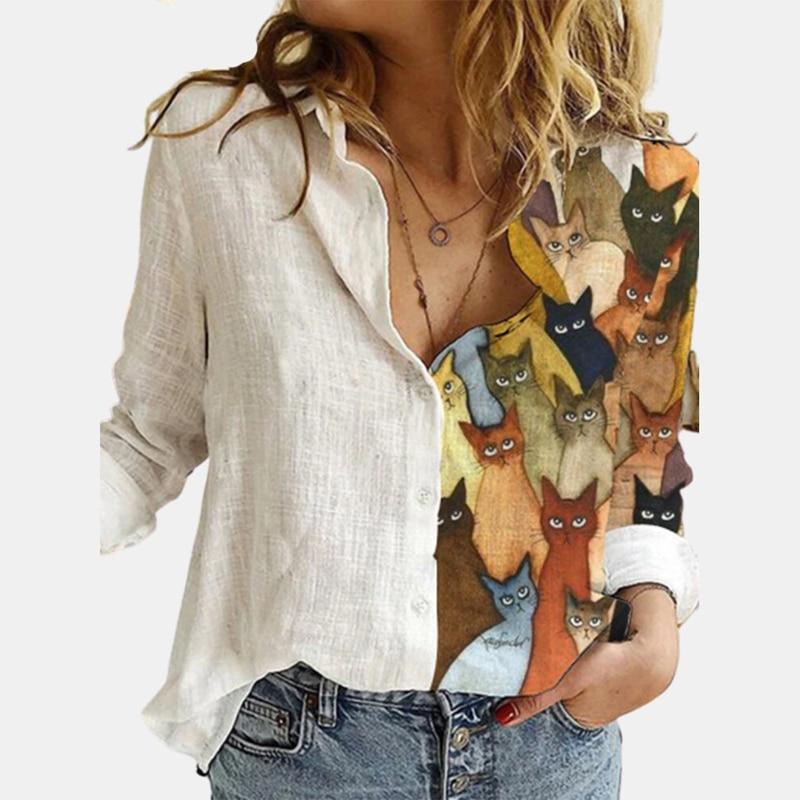 2021 Women Tshirts Casual Long Sleeve Animal Cat Print Shirt Loose T Shirt Women Print Tops White Animal Shirt