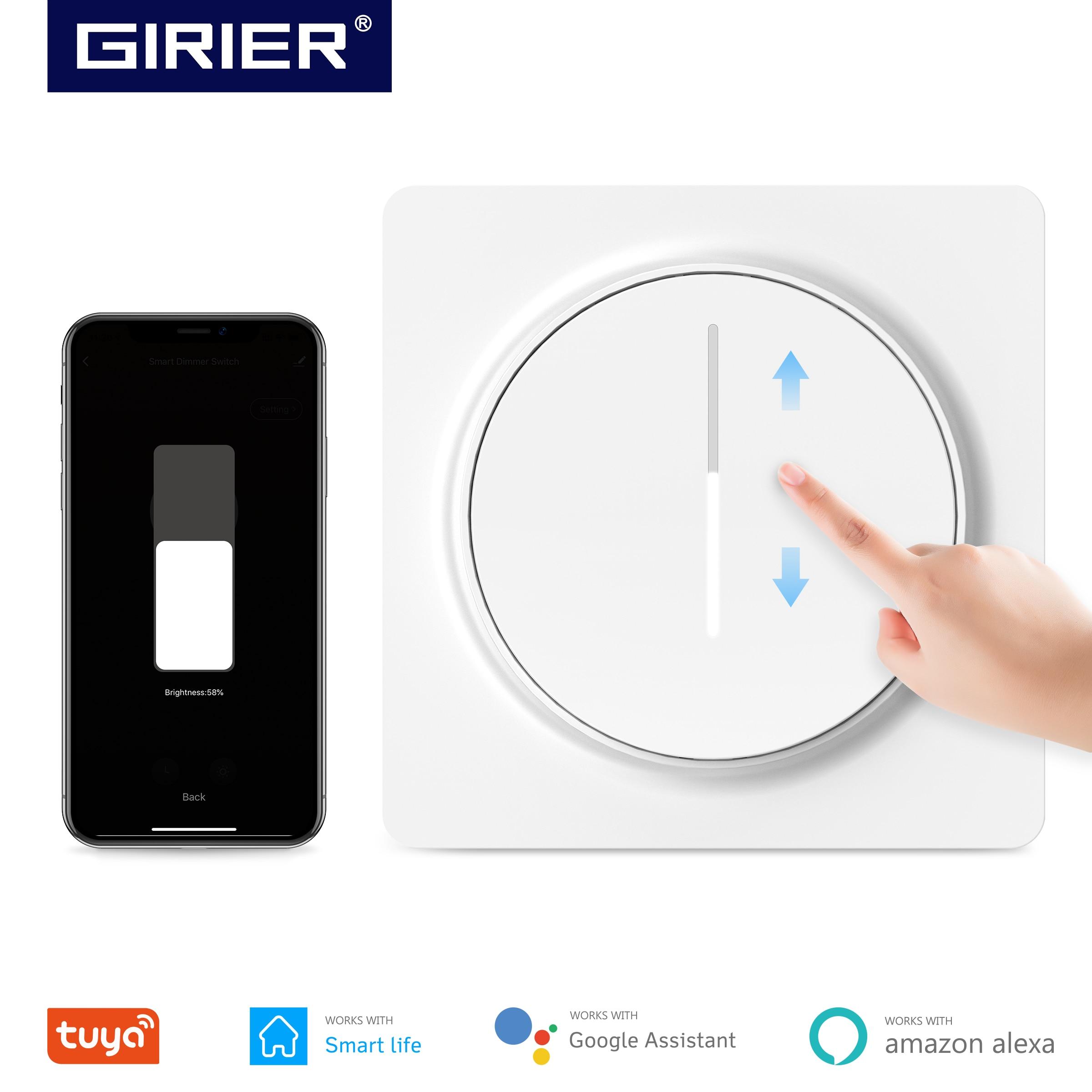 Tuya-مفتاح حائط ذكي مع لوحة تعتيم Wifi ، 100-240 فولت ، الاتحاد الأوروبي ، يعمل مع Alexa Google Home ، لا يوجد محور مطلوب