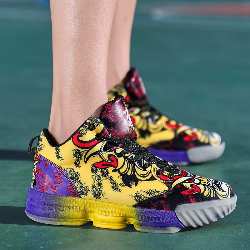 Boy Basketball Sneakers Kids Jordan Shoes High Top Mesh Breathable Sneaker Non Slip Shock Absorption