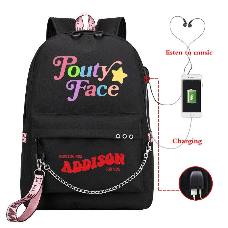 Mochila bonita ADDISON RAE bolsa para la escuela para adolescentes mochila para portátil con carga USB, mochila para niños