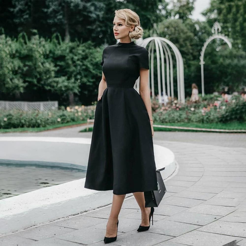 High Quality Elegant Black Dress Women Vintage Ladies Fit Flare Prom Party Night Formal Dress 2020 R