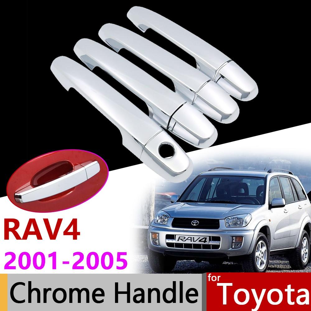 Car Exterior Accessories Door Chrome Handle Cover for Toyota RAV4 XA20 20 2001~2005 2002 2003 2004 Protective Trim Set Stickers