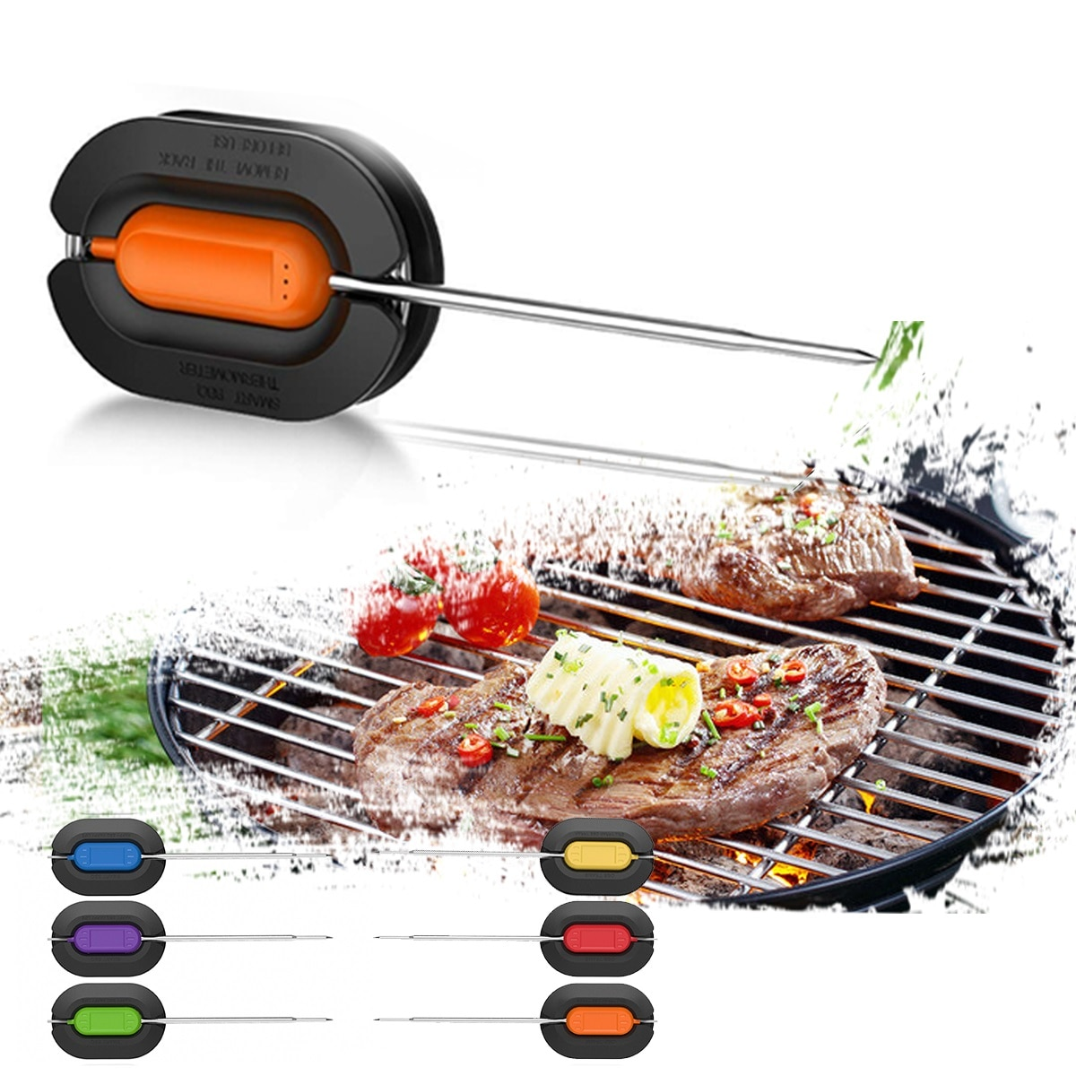 6PCS15cm Stainless Steel Probes Digital Wireless Smart BBQ Grill Barbecue Meat Food Cooking Smoker Thermometer Kitchen Tool