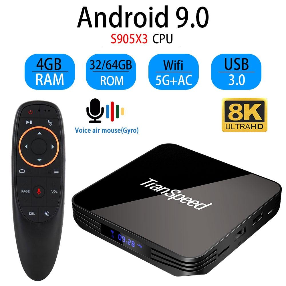Android Tv Box 9,0 X3 Max Amlogic S905X3 4GB4K reproductor de medios 8K caja de Android 2,4G y 5G Wifi 32GB 64GB Set Top Box