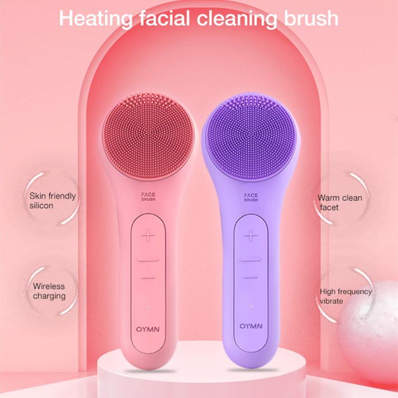 سيليكون الكهربائية مستحضر لتطهير الوجه جهاز سيليكون فرشاة تنظيف الوجه مدلك الوجه منظف الجلد الاهتزاز تنظيف المسام العميق