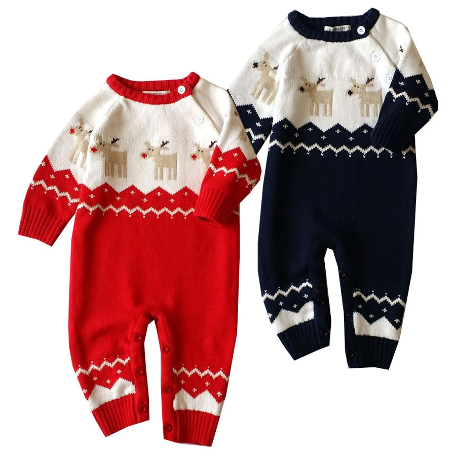 0-18M Newborn infant Christmas Deer Baby Boys Girls outfit Rompers Kids Clothes Winter knitted sweater