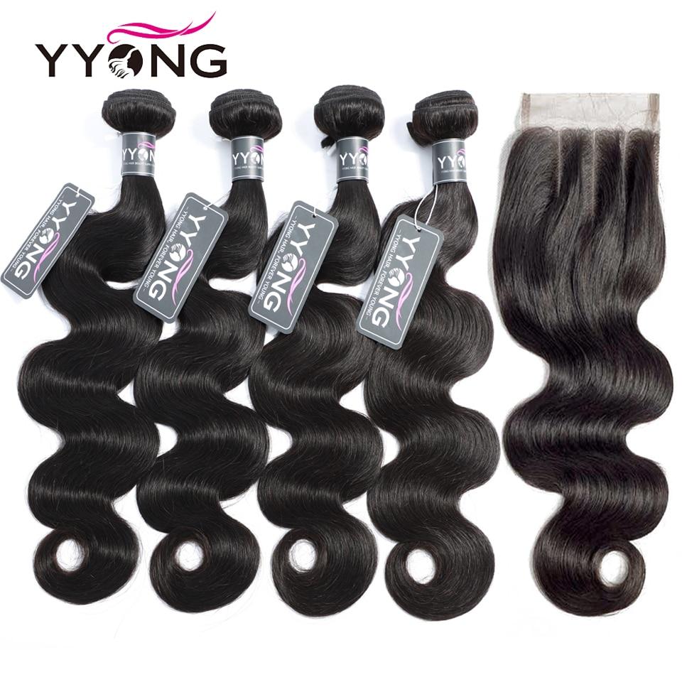 Yyong 3/ 4 Body Wave Bundles With Closure Brazilian Hair Weave Bundles With Lace Closure 4x4 Remy Human Hair Bundle With Closure