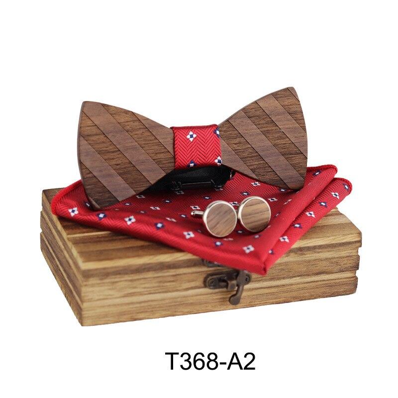 Manual Wooden Bow Tie Handkerchief Set Men's Bowtie Wood Hollow Carved And Box Bow Tie Bowtie Ties For Men Gravata Cravate Homme