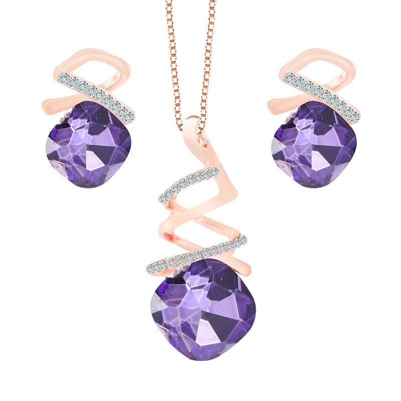 TSHOU59-خاتم مرصع بالكريستال الزركون للمرأة ، خاتم ، قلادة ، أقراط ، رابط هدية للمشتري