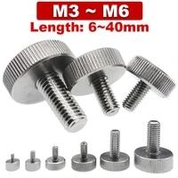 304 stainless steel flat head head handle thumb screw gb835 knurled big head round adjusting bolt advertising nail m3 m4 m5 m6