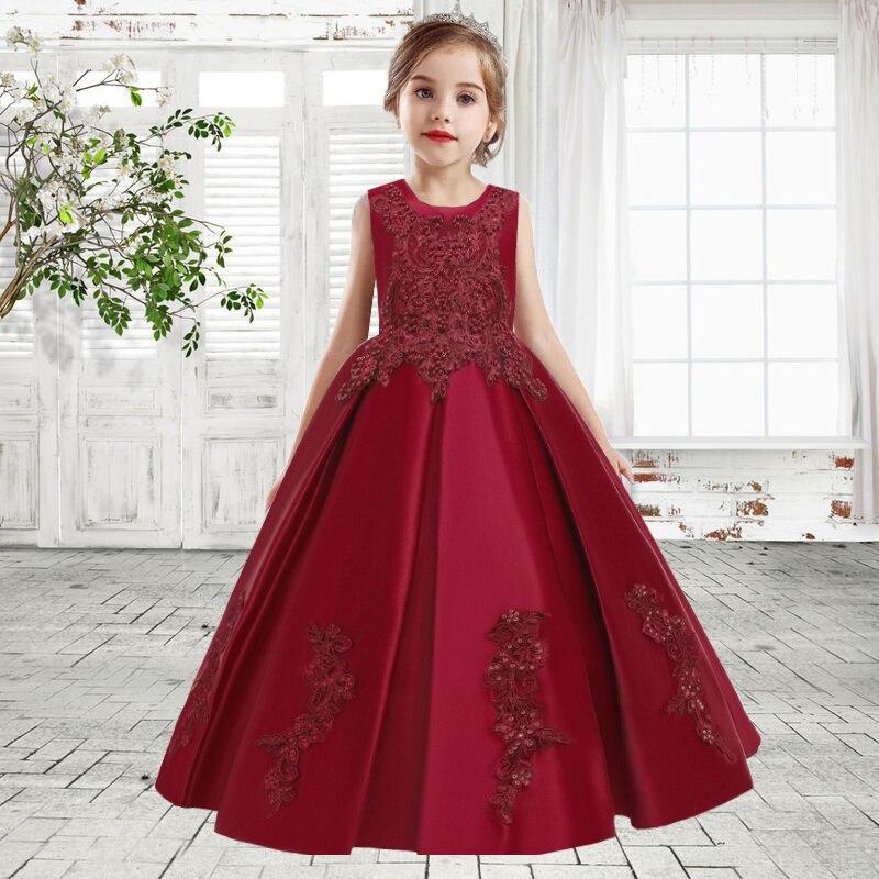 2020 vestidos de casamento flor para meninas elegante festa princesa vestido longo noite bebê menina vestido infantil 6 12 14 anos