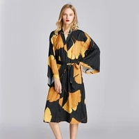 spring and summer printed nightgown womens plus size mid length dressing gown bathrobe pajamas home service