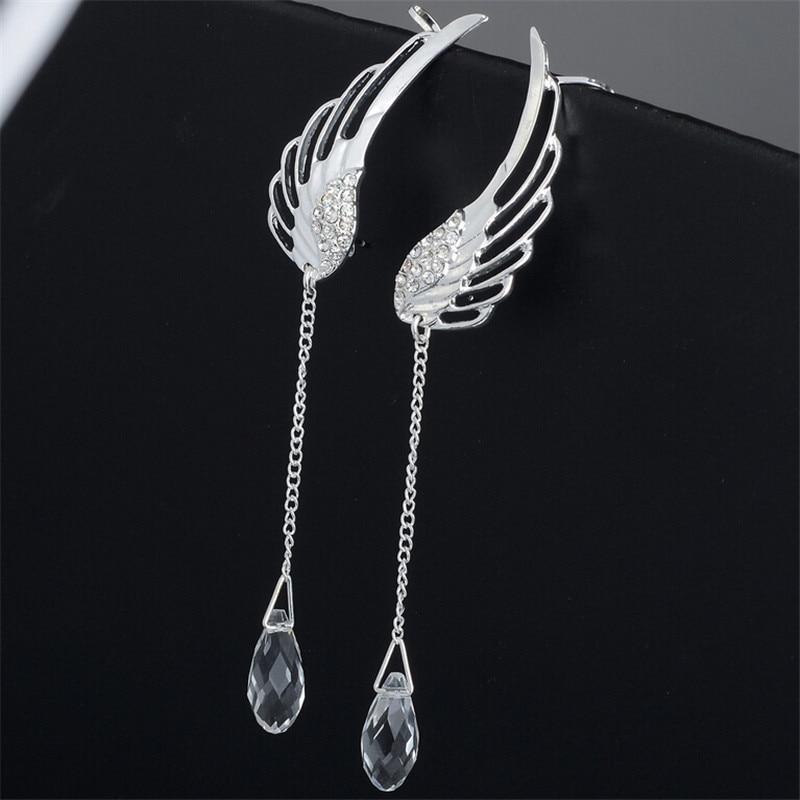 Posrebrene anđeoske kristalne naušnice kristalne naušnice za - Modni nakit - Foto 5