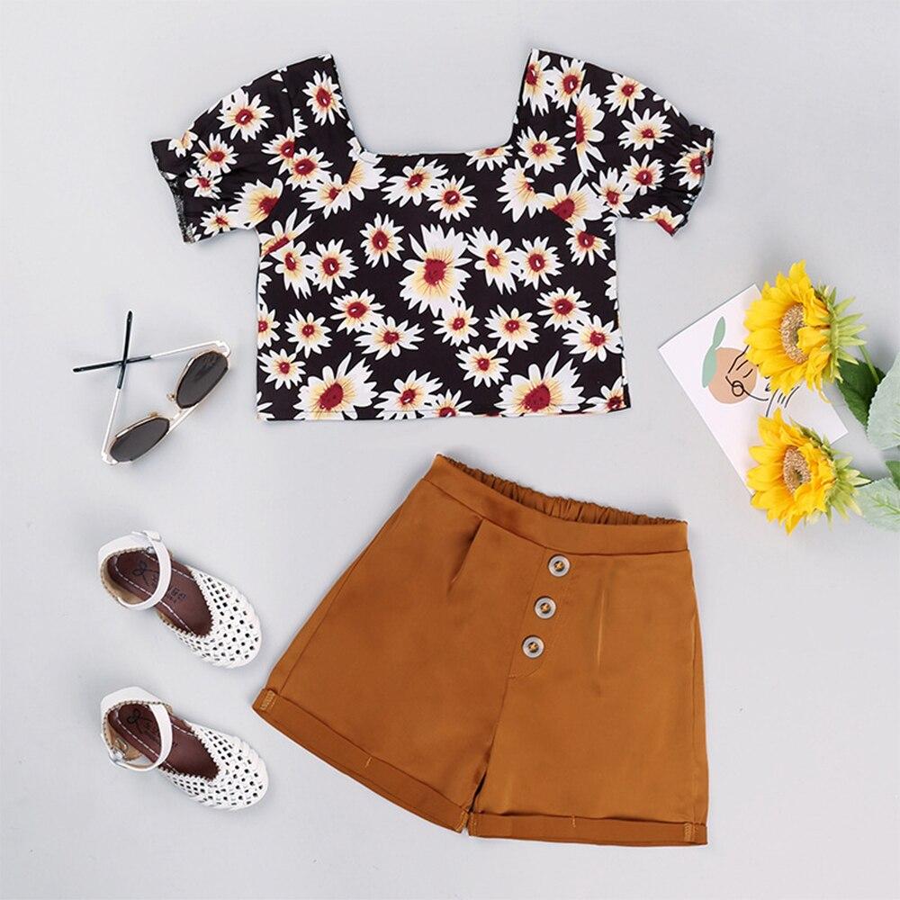 Baby Girl Summer Clothes Kids Outfits Beauty Flower Cute Designer  Elegant Free Shipping Khaki Loungewear Top+Short Pants 2pcs