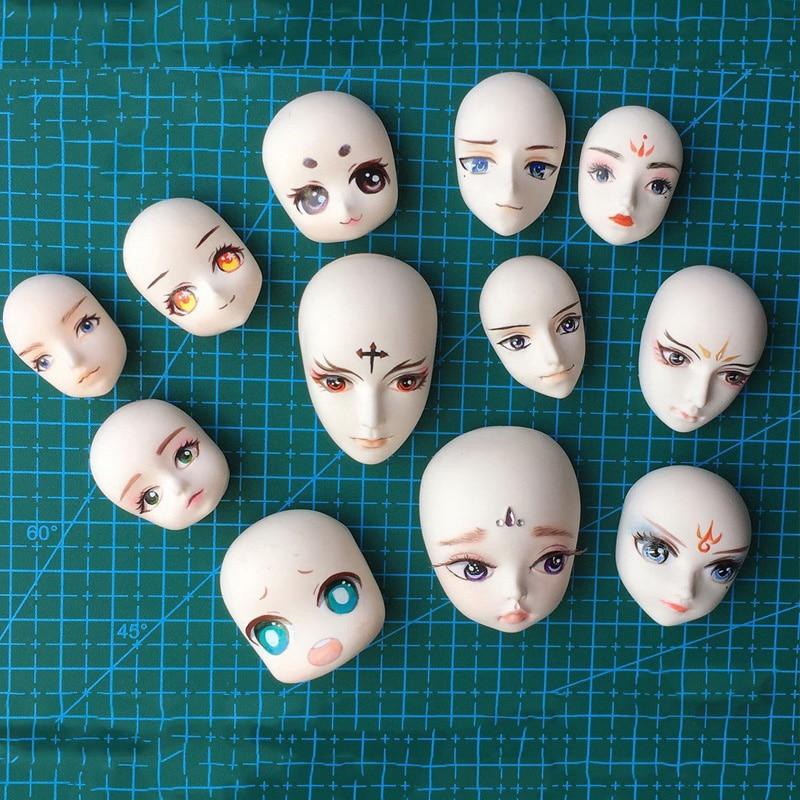 12 PCS/Set Clay Doll Face Silicone Mold DIY Clay Soft Pottery Fondant Mold BJD Doll Face Molds Pottery Clay Tool
