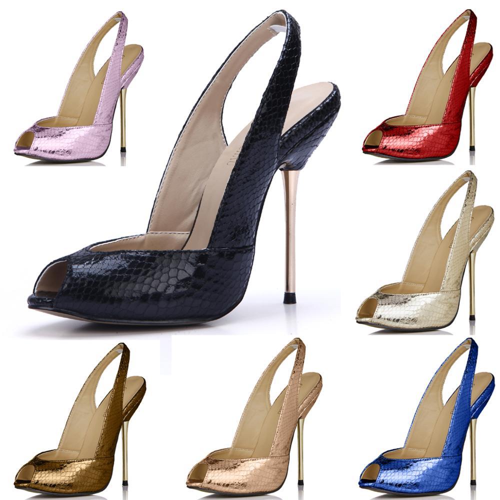 Chmiles CHAU-حذاء نسائي بكعب عالٍ من جلد الثعبان ، حذاء سهرة مثير ، بمقدمة مفتوحة وكعب خنجر ، حذاء نسائي بحزام خلفي ، 3845-g10