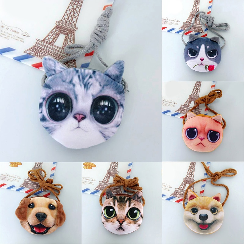 New 3D Animal Children Purses Girl Cute Small Cat Mini Messenger Bags Fashion Dog Shape Shoulder Bag Kawaii Key Case Coin Pouch