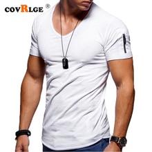 Covrlge 2019 Mens Vneck 지퍼 티셔츠 남성 티셔츠 피트니스 티셔츠 5XL 브랜드 의류 남성 무료 배송 Streetwear MTS544-1